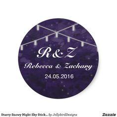 Starry Snowy Night Sky Sticker design with theme Wedding Stickers, Abstract Watercolor, Night Skies, Sticker Design, Wedding Invitations, Sky, Heaven, Heavens, Wedding Invitation Cards
