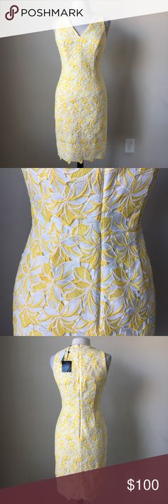 Tonal lace sheath yellow white dress -Fully lined -Hidden back zip -Shell: 100% Polyester -Lining: 100% Polyester -Measurements in inches:  Size 8: Bust 38.5, waist 32.5, Hip 42, Length 38.5 Size 10: Bust 39.5, waist 34, hip 43, length 39 Size 12: Bust 41.5, waist 35.5, hip 44.5, length 40 White House Black Market Dresses Midi