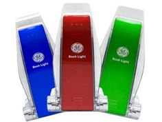 GE 17228 LED Battery-Operated Clip-On Book Light, Multiple Colors, 3 Pack by GE. $19.54. From the Manufacturer                Convenient and portable LED book lights.                                    Product Description                This three pack of GE 17228 book lights makes a thoughtful gift idea for that book lover on your list. Available in one of each color--red, blue, and green, the book lights clip securely onto a paperback or hard-cover book, as well as to an e-r...