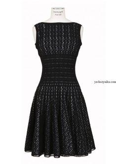 Платье крючком с пышной юбкой. Женские вязаные платья крючком со схемами