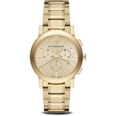 Burberry Gold-Tone Chronograph Bracelet Watch, 38mm (5.780 HRK) ❤ liked on Polyvore featuring jewelry, watches, accessories, bracelets, bijoux, gold, yellow gold watches, gold jewelry, gold jewellery and gold tone bracelet watch