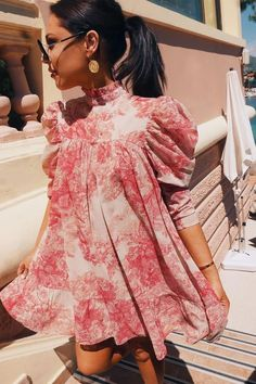 Lorna Luxe 'cora Pearl Impossibly Perfect' Pink High Neck Swing Dress In The Style USA Teen Fashion Outfits, Look Fashion, Fashion Dresses, Womens Fashion, Fashion Design, Looks Chic, Looks Style, Cute Dresses, Casual Dresses