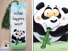 3 Pack: Curious Panda Bear What Happens Next by ColdSnapStudio (Home & Living, Office, Office & School Supplies, bookmark, bookmarks, funny animal, cartoon animal, love reading, I love reading, funny bookmark, book end, handmade bookmark, munchies, panda bear, panda gift)