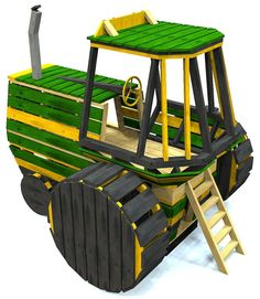 awesome tractor playhouse plan, 2 levels and detailed