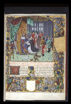Harley 4430, f33. Miniature of Simon de Hesdin presenting his book to the king of France Charles V , in the foreground, a dog pursues a monkey. Full strew border in the Ghent-Bruges style with acanthus leaves, flowers, figures, and a monkey mounted on a sheep (damaged), with a space left blank for a coat of arms. Decorated initial 'L'(a briefte) at the beginning of book 1.   Origin: Netherlands, S.