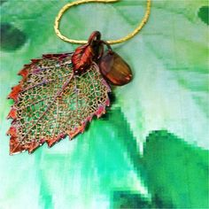 Real Leaves Jewelry Birch Leaf Pendant Necklace Faceted Bead Free SHIP Chain | eBay