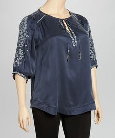 Take a look at this Navy Floral Tie-Front Top by Blue Tassel on #zulily today!