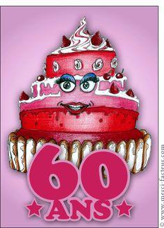 Carte 60 ans et un gros gâteau tout rose pour envoyer par La Poste, sur Merci-Facteur !