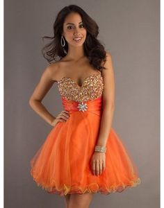A-line orange strapless sweetheart ruffled short prom dress with sequins  US$160.00