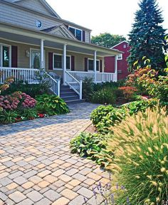 10 Front Walkways For Maximum Curb Appeal: Front Walkway Idea: Vintage Pavers to Match Style of Older Home Outdoor Walkway, Front Walkway, Front Yard Landscaping, Walkway Ideas, Yard Ideas, Front Steps, Landscaping Ideas, Paving Ideas, Farmhouse Landscaping
