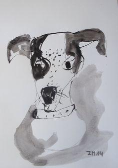 Hund  Portrait Original Zeichnung beigem von Kunstmuellerei auf Etsy