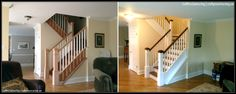 New Staircase in Madison NJ Painted & Stained: Box Newel Posts & Caps, Handrails, Balusters, Stringers & Risers