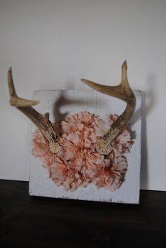 Deer Antlers & Pink Flowers... now THAT is my kind of mount!