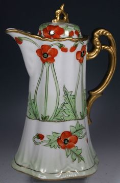 Limoges Hand painted chocolate pot - French porcelain chocolate pot painted with red poppies, gold gilt. Undated