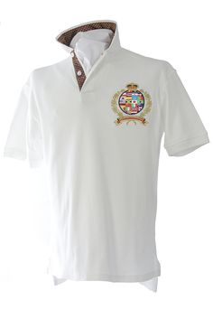 Our classic-fitting short-sleeved polo in breathable cotton interlock, finished with captivating Robert Owen Collection signature patch and embroidery.  Color: Off White  Collar: (Brown and White Dots)   Two-button concealed twill placket,contrasting twill collar. Collar topside has fashionable print similarities of placket. Our embroidered International Crest accents the left chest. Accompanied by matching handkerchief. 100% cotton. Machine washable. Imported.  $70.00