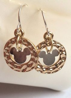 Silver Mickey Mouse Earrings Ears Dangle Disney Pierced Plated Gold USA Seller #Unbranded #DropDangle