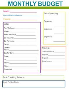 Monthly Family Budget Printables – Finance tips, saving money, budgeting planner
