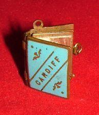 CARDIFF Miniature Brass & Enamel POSTCARD ALBUM BOOK Charm Jewellery (sold for $29)
