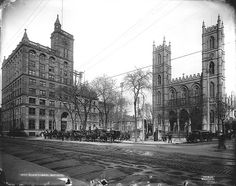 Place d'Armes, Montreal, QC, about 1895 including Notre Dame. From the McCord Museum. Old Montreal, Montreal Ville, Photos Du, Old Photos, Photo Vintage, Canadian History, Parcs, The Province, Far Away