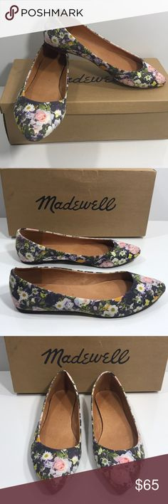 Madewell Secret Garden print sidewalk skimm Sweet and pretty pair of Madewell flats. Beautiful floral print cloth body. Leather interior. Pointed toe. Only wear on soles. These are SO pretty and versatile! Size 9.5. Box will be included if requested. Madewell Shoes Flats & Loafers