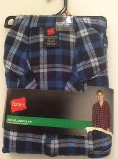 New-Hanes-Flannel-Pajama-Set-Blue-Flannel-Medium-Men-039-s