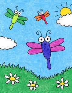 Drawing Pictures For Kids, Scenery Drawing For Kids, Easy Drawings For Kids, Painting For Kids, Cute Drawings, Art For Kids, Drawing Ideas Kids, Easy Cartoon Drawings, Drawing Projects