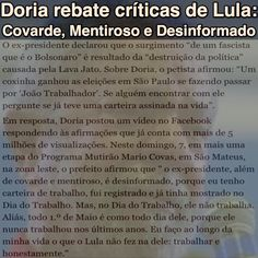 Doria rebate críticas de Lula: Covarde, Mentiroso e Desinformado [Estadão] http://politica.estadao.com.br/noticias/geral,doria-rebate-criticas-de-lula,70001767012 ②⓪①⑦ ⓪⑤ ⓪⑧ #iLoveLula