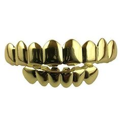 14K Gold Plated 8 Tooth Grillz Grill Top & Bottom