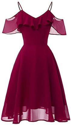 LaceShe Frauen Flowy Strapless Schulter Chiffon Kleid - XL / Burgund Source by rvappen short dresses Pretty Dresses, Sexy Dresses, Vintage Dresses, Beautiful Dresses, Fashion Dresses, Casual Dresses, Dress Outfits, 1950s Dresses, Office Dresses