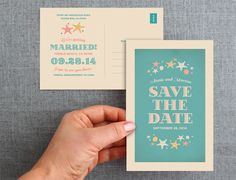 50 Ocean Beach Save the Date post cards - starfish and seashells.