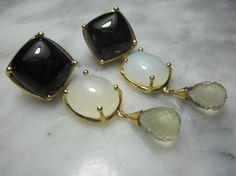 TOM K Pendant Earrings Studs  Onyx Gold Earrings Moonstone cabochon jade ring  Lemon quartz Ring