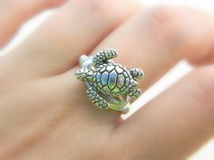 Turtle RING. To Order Silver Pewter Ocean Sea Aquatic by gabeadz