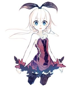1girl :o bare_arms bare_shoulders black_legwear blue_eyes bow bustier flat_chest frills hair_bow jewelry lolita_fashion looking_at_viewer necklace open_mouth original pale_skin pendant ribbon riuichi simple_background small_breasts solo teeth white_background white_hair white_skin wrist_cuffs