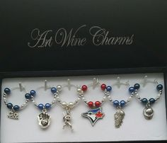 6 Toronto Blue Jays Baseball themed Wine Charms, Baseball,MLB, Team Colors, Thank You,Gift, Coach, Themed Party, Party Favors,Gifts under 20 by PickinsGalore on Etsy