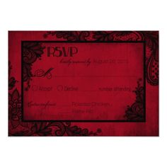 Gothic Wedding Invitations Red and Black Lace Gothic RSVP Card