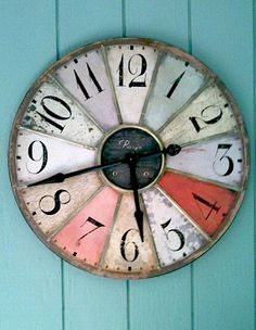 Add a dash of color to any wall with this pretty wall clock. Featuring various pastel shades with a white-washed look and pie-cut shapes, this unique clock will add a bit of personality to any room. Cute Clock, Cool Clocks, Bunt, Sweet Home, Wall Decor, Crafty, Cool Stuff, Antiques, Inspiration