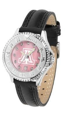 Arizona Wildcats Women's Leather Watch Mother Of Pearl by SunTime. $89.95. Officially Licensed Arizona Wildcats Ladies Leather Sports Watch. Mother of Pearl Face. Adjustable Band. Poly/Leather Band. Women. Arizona Wildcats Women's leather wristwatch. This Wildcats wrist watch features functional rotating bezel color-coordinated to compliment team logo. A durable, long-lasting combination nylon/leather strap, together with a date calendar, round out this best-se...