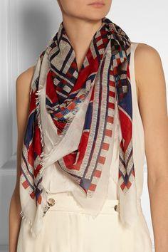 Alexander McQueen|Printed modal and silk-blend scarf