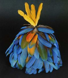 Kayapo feather art Feather Headpiece, Feather Art, Bird Feathers, Arte Plumaria, Tribal Rituals, Birmingham Museum Of Art, Rose Video, Amazon Tribe, Forest People