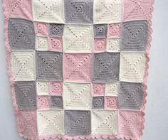baby girl crochet blanket crochet pink organic cotton by BabanCat Crochet Quilt Pattern, Crochet Mittens Free Pattern, Crochet Motif, Crochet Yarn, Crochet Home, Crochet Granny, Baby Girl Crochet Blanket, Crochet Christmas Gifts, Rugs