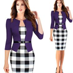 Elegant Business Suits 3/4 Sleeve Knee Length Pencil Dress S-4XL