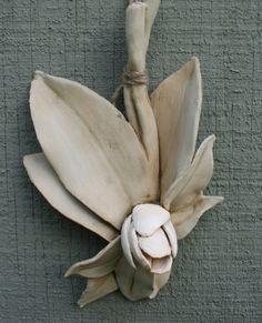 Sculpted ceramic magnolia bud by HouseOfCeramics on Etsy