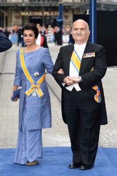 April 30 2013 : Princess Sarvath El Hassan of Jordan and Prince El Hassan bin Talal of Jordan attends the Inauguration of King Wilem Alexander of the Netherlands