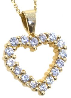 Diamond heart shaped pendant with 16 round diamonds 1.00ct tdw in 14k yellow gold | #love