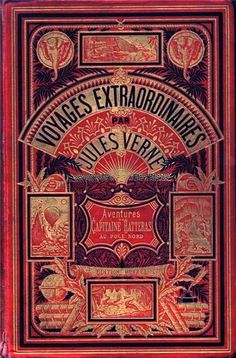"""Illustrated cover of antique book, """"Voyages Extraordinaires,"""" by Jules Verne"""