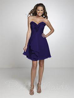 Dark Royal Blue Bridesmaid Dress - Short & Strapless