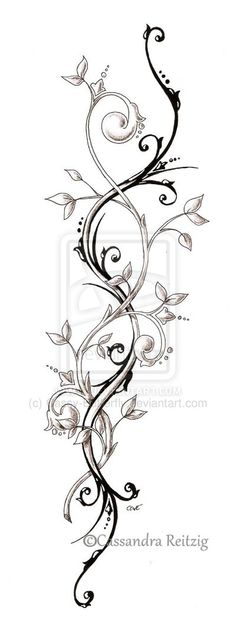 tendril tattoo, perfect spine tattoo idea <3 maybe thinned out a bit so it fit properly and not look gooney :p