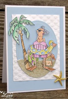 Art Impressions  Blanche (Sku#K1605) Golden Oldies beach card