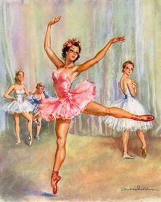 Ballerina Recital Vintage Artwork by Vintage Artwork. Ballet Room, Ballet Art, Ballet Dancers, Retro Images, Vintage Images, Ballerinas, Ballet Painting, Vintage Ballerina, Tiny Dancer