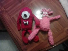 crochet muno and foofa from yogabba gabba